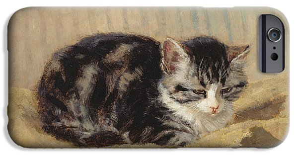 White Cat Art iPhone Cases - The Tabby iPhone Case by Henriette Ronner-Knip