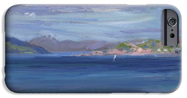 Figure iPhone Cases - The Tail of Mull from Iona iPhone Case by Francis Campbell Boileau Cadell