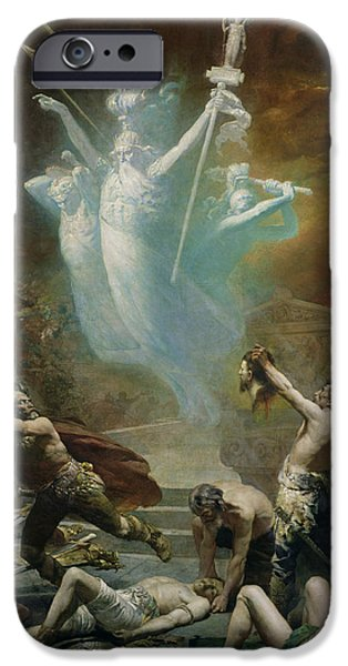Zeus iPhone Cases - The Taking Of The Temple At Delphi By The Gauls, 1885 Oil On Canvas iPhone Case by Alphonse Cornet