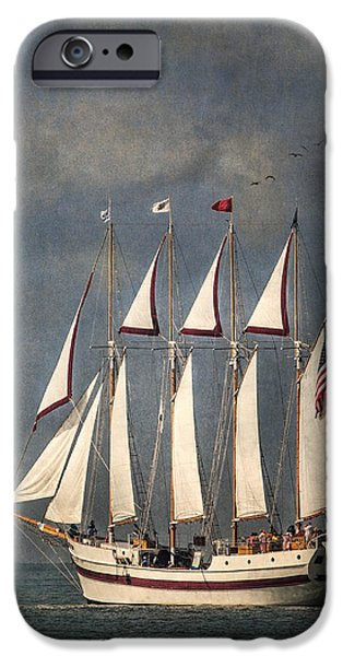 Wooden Ship iPhone Cases - The Tall Ship Windy iPhone Case by Dale Kincaid