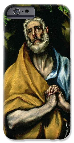 Tear Paintings iPhone Cases - The Tears of St Peter iPhone Case by El Greco Domenico Theotocopuli