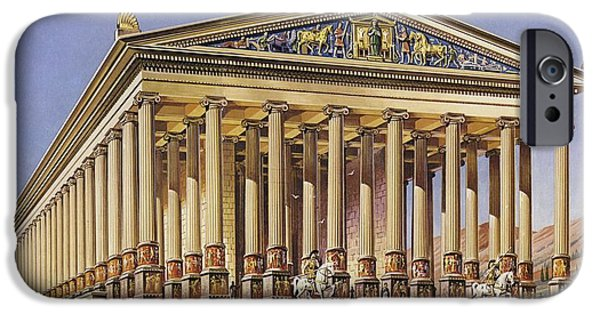 Ephesus iPhone Cases - The Temple Of Artemis Colour Litho iPhone Case by English School