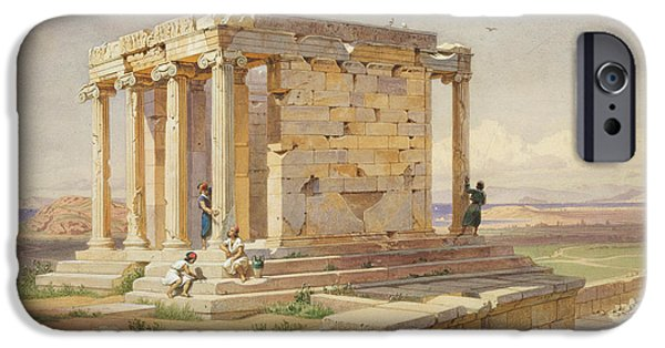 Temple Of Athena Nike iPhone Cases - The Temple of Athena Nike. View from the North-East iPhone Case by Carl Werner