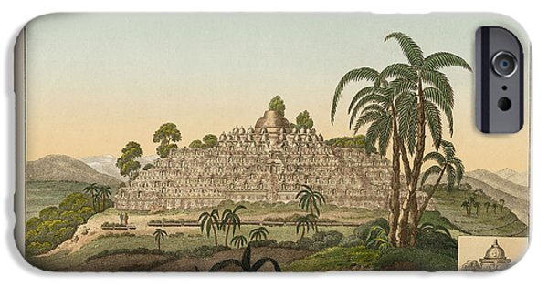 Architektur Drawings iPhone Cases - The temple of Buddha of Borobudur in Java iPhone Case by Splendid Art Prints