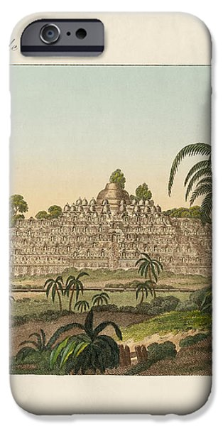 The temple of Buddha of Borobudur in Java iPhone Case by Splendid Art Prints