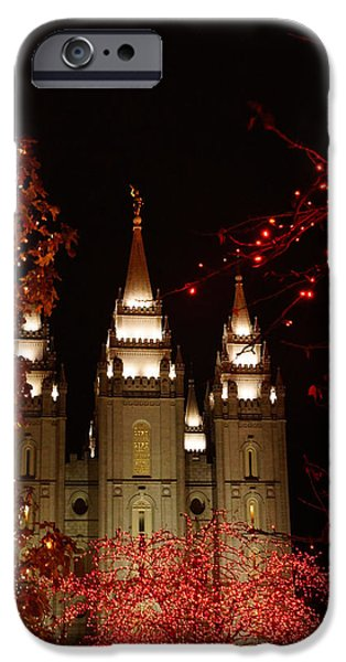 Season iPhone Cases - The Temple with Christmas colors iPhone Case by Gloria Pasko