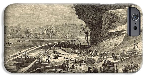Tennessee Drawings iPhone Cases - The Tennessee at Chattanooga 1872 Engraving iPhone Case by Antique Engravings
