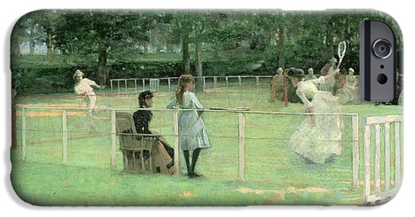 Pastimes iPhone Cases - The Tennis Party iPhone Case by Sir John Lavery