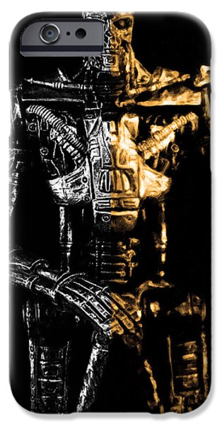 Electronic iPhone Cases - The Terminator silver and gold iPhone Case by Toppart Sweden