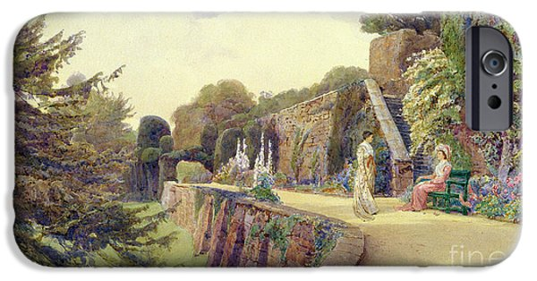Women Together Paintings iPhone Cases - The Terrace at Berkeley Castle iPhone Case by George Samuel Elgood
