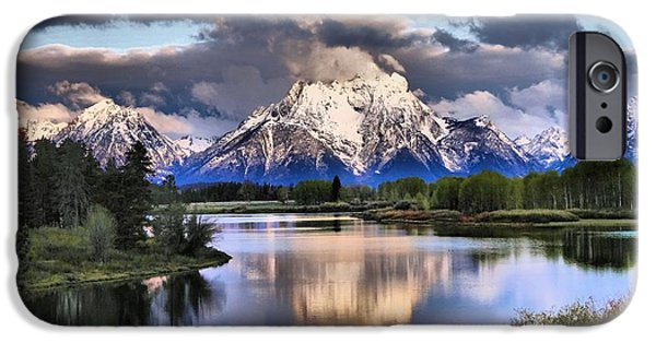 Reflecting Trees iPhone Cases - The Tetons From Oxbow Bend iPhone Case by Dan Sproul