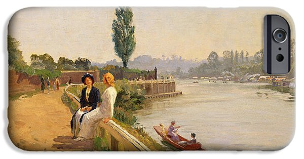 Punting iPhone Cases - The Thames at Hampton Court iPhone Case by John Arthur Black