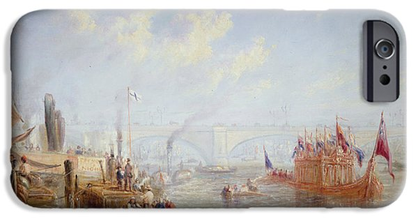 River iPhone Cases - The Thames Near London Bridge Oil On Canvas iPhone Case by Francis Moltino