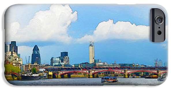 Dirty iPhone Cases - The Thames Panoramic View iPhone Case by Don Kuing