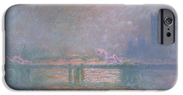 Impressionistic Landscape Paintings iPhone Cases - The Thames with Charing Cross Bridge iPhone Case by Claude Monet