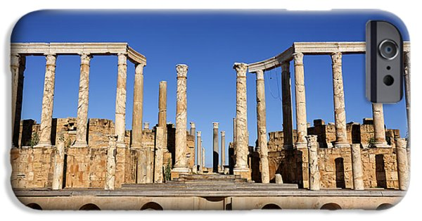 Leptis Magna iPhone Cases - The theatre at Leptis Magna in Libya iPhone Case by Robert Preston