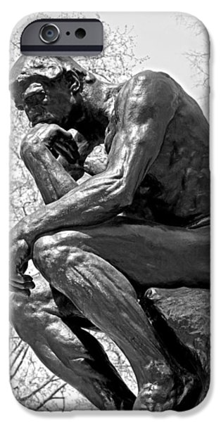 The Thinker in Black and White iPhone Case by Lisa  Phillips