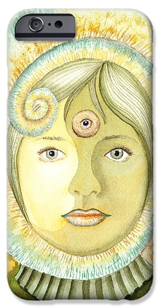 Third Eye Paintings iPhone Cases - The Third Eye The Wise One Meditation Portrait iPhone Case by Irina Sztukowski