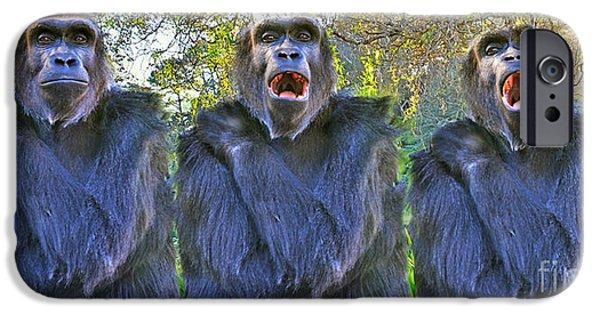 Bonding Digital Art iPhone Cases - The Three Ape Tenors iPhone Case by Jim Fitzpatrick