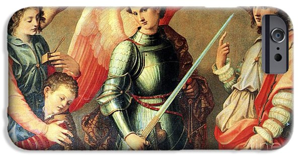 Michael Tapestries - Textiles iPhone Cases - The Three Archangel iPhone Case by Matteo TOTARO