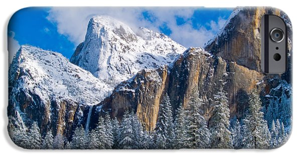 Bill Gallagher iPhone Cases - Cathederal Rocks and Bridalveil iPhone Case by Bill Gallagher