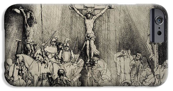 Calvary iPhone Cases - The Three Crosses, 1653, By Rembrandt 1606-1669 iPhone Case by Bridgeman Images