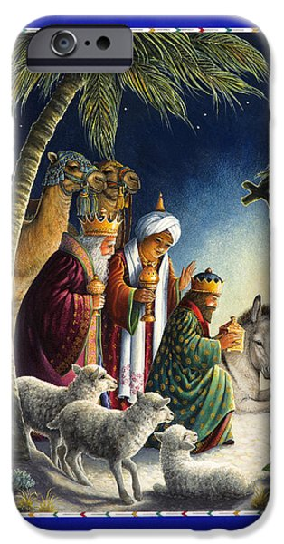 Nativity Paintings iPhone Cases - The Three Kings iPhone Case by Lynn Bywaters
