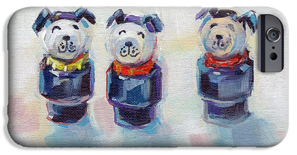 Dog And Toy iPhone Cases - The Three Musketeers iPhone Case by Kimberly Santini