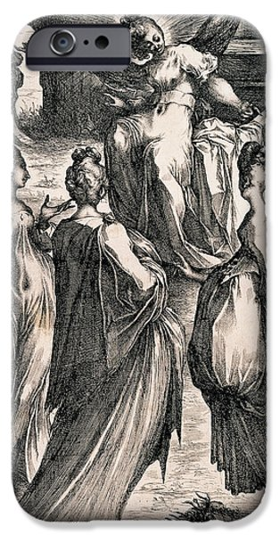Sepulchre Drawings iPhone Cases - The Three Women at the Tomb iPhone Case by Jacques Bellange
