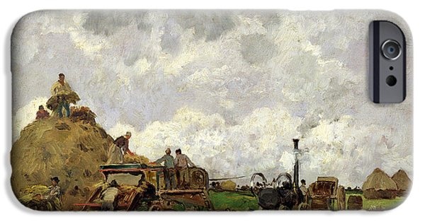 Agriculture iPhone Cases - The Threshing Machine Oil On Panel iPhone Case by Edmond Charles Yon