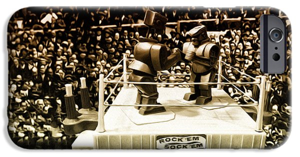 Rockem Sockem Robots iPhone Cases - The Thrilla in Toyvilla iPhone Case by Bill Cannon