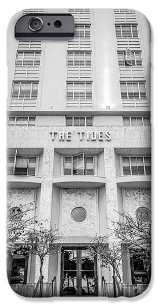 Dixon iPhone Cases - The Tides Art Deco Detail South Beach Miami - Black and White iPhone Case by Ian Monk