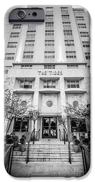 Ianmonk iPhone Cases - The Tides Art Deco Hotel South Beach Miami - Black and White iPhone Case by Ian Monk