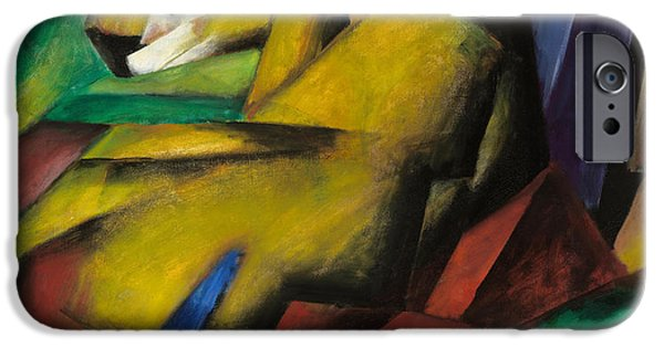 The Tiger Paintings iPhone Cases - The Tiger iPhone Case by Franz Marc