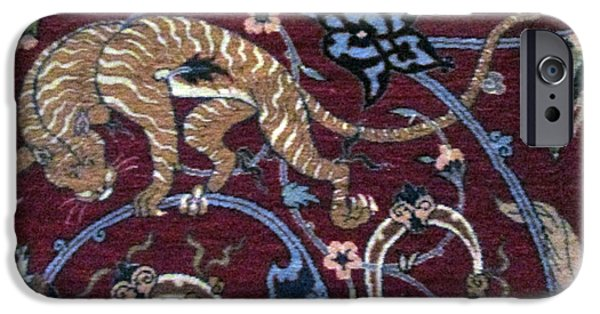 Persian Carpet iPhone Cases - The tiger Photos of Persian Antique Rugs Kilims Carpets  iPhone Case by Persian Art