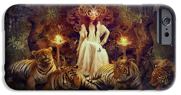 Phantasie Digital Art iPhone Cases - The Tiger Temple iPhone Case by Cassiopeia Art