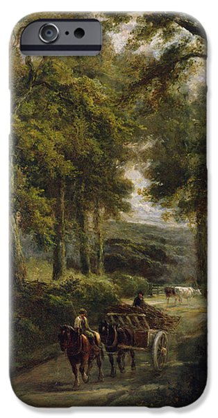 Horse And Cart iPhone Cases - The Timber Wagon Oil On Canvas iPhone Case by Henry Earp