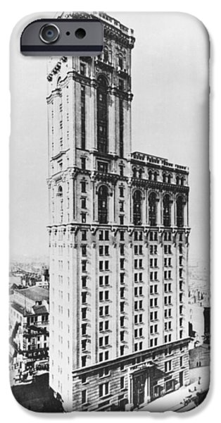 42nd Street iPhone Cases - The Times Building, New York, C.1900 Bw Photo iPhone Case by American Photographer
