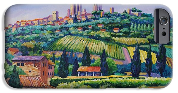 Vineyard Landscape iPhone Cases - The Towers of San Gimignano iPhone Case by John Clark