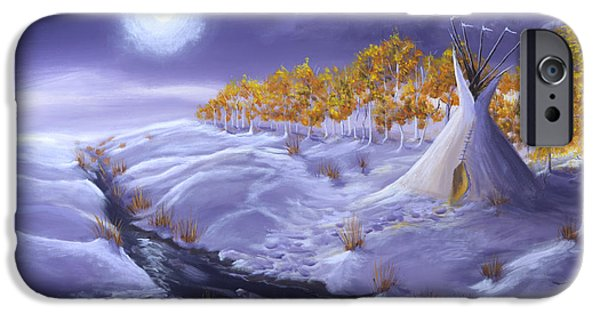 Snowscape Paintings iPhone Cases - The Trail Home iPhone Case by Jerry McElroy