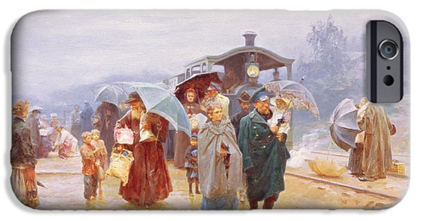 Raining iPhone Cases - The Train Has Arrived, 1894 Oil On Canvas iPhone Case by Nikolaj Alekseevich Kasatkin