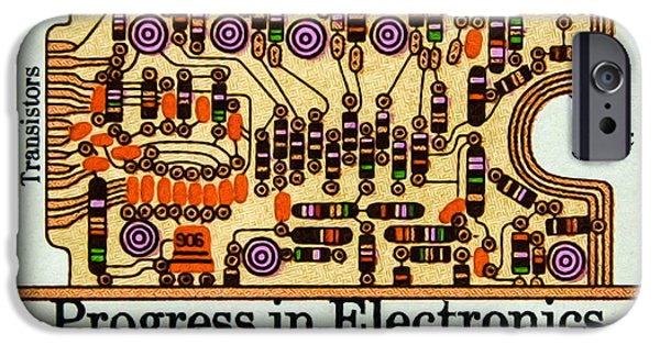 Circuit Paintings iPhone Cases - The Transistors and Circuit Board stamp iPhone Case by Lanjee Chee