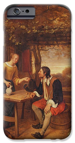 Table Wine iPhone Cases - The Travellers Rest Oil iPhone Case by Jan Havicksz. Steen