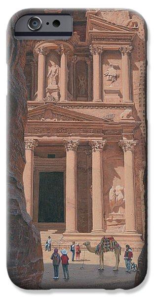 Indiana Landscapes iPhone Cases - The Treasury Petra Jordan iPhone Case by Richard Harpum