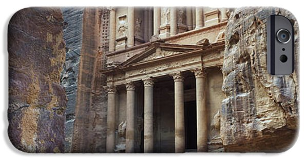 Jordan iPhone Cases - The Treasury Through The Rocks, Wadi iPhone Case by Panoramic Images