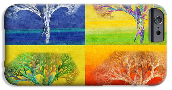 The Trees Mixed Media iPhone Cases - The Tree 4 Seasons - Painterly - Abstract - Fractal Art iPhone Case by Andee Design