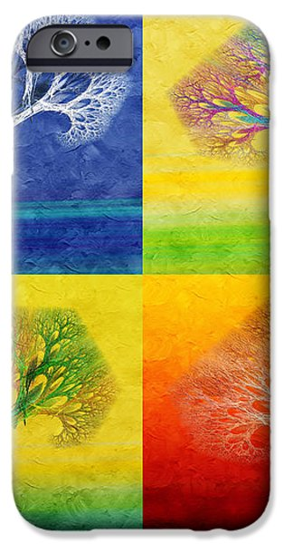 The Tree 4 Seasons - Painterly - Abstract - Fractal Art iPhone Case by Andee Design