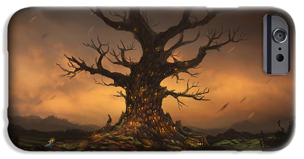 Phantasie iPhone Cases - The Tree iPhone Case by Cassiopeia Art