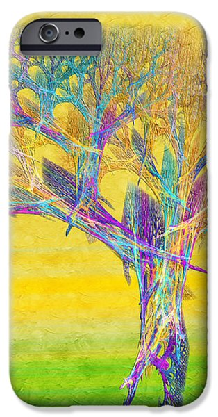 The Tree In Spring At Midday - Painterly - Abstract - Fractal Art iPhone Case by Andee Design