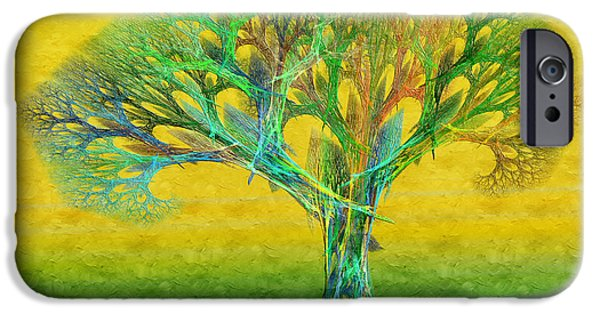 The Trees Mixed Media iPhone Cases - The Tree In Summer At Sunrise - Painterly - Abstract - Fractal Art iPhone Case by Andee Design